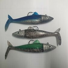 bass lure imitation mackerel, 15cm soft bait 4 oz lead head holding 7/0 hook