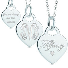 Personalized engravable  Heart Pendant Silver Tone Name Necklace make in NY