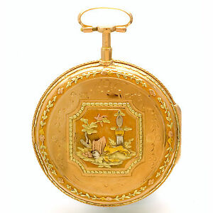 ANTIQUE DES ARTS GENEVA GOLD VERGE POCKET WATCH CA1790S 18K MULTICOLOR GOLD