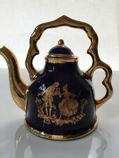 NEW LIMOGES FRANCE MINIATURE COLLECTIBLE LARGE TEA POT COBALT BLUE & GOLD