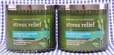 2 Bath Body Works Stress Relief EUCALIPTUS SPEARMINT Aromatheropy 3-Wick Candle