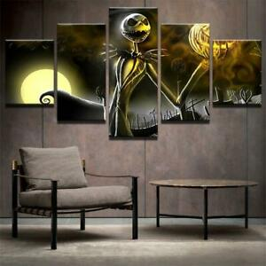 Halloween Nightmare Before Christmas Framed 5 Piece Canvas Movie Wall Art Painti