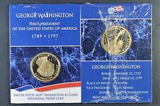 2007 S George Washington Proof Presidential $1 coin on a card UN opened