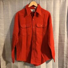 VTG Orvis Dark Orange Chamois Flannel Fishing Tackle Button Front Shirt L/XL