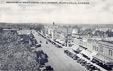 Marysville Kansas Broadway West from 10th Street Antique Postcard (J20543)