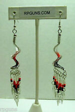 New Dangle RED SPIRAL EARRINGS  Native / Southwest style UNIQUE KEWL GIFT NIB