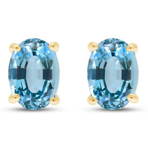Simulated Aquamarine Solitaire Stud Earrings in 14k Yellow Gold Over Silver 925