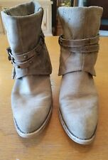 STEVE MADDEN WOMENS FLIPPED COWBOY BOOTS SIZE 40 (9-9.5) TAN SUEDE LEATHER