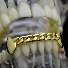 Cuban Fang Grillz 14k Gold Plated Plain Bottom Lower Vampire Fangs Hip Hop Teeth