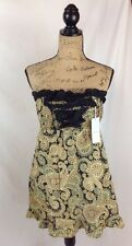 NWT Bag Lady Mudpie  Black & brown paisley LINEN strapless cover up dress size M