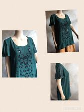 NEW M&S Per Una Ladies Top Shirt Chiffon Hand Embellished Bottle Green Size 16