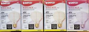 SATCO Vintage Style Cage Filament Indoor Globe Bulb S2425, 40 Watt, Lot of 4