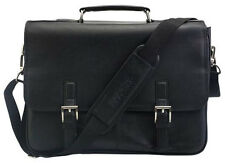 Kenneth Cole Reaction Leather A Brief History Double Gusseted Flap Briefcase Blk