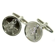 Silver Coin Style Cufflinks With Masonic Masons Logo & Gift Pouch Present New
