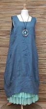 LAGENLOOK 100% LINEN 2 POCKETS BALLOON LONG DRESS*DUSTY BLUE*SIZE 50-52