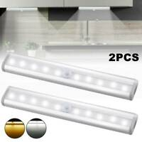 2x10 LED Unterbauleuchte Batterie Bewegungsmelder Schrank Licht Küche Nachtlicht