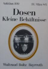 DOSEN und KLEINE BEHÄLTNISSE von BOLTZ BAYREUTH 1984 auf 28 Seiten über 200 Pos.