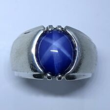MJG STERLING SILVER CLASSIC MEN'S RING.12 X 10mm LAB BLUE STAR SAPPHIRE. SZ 9