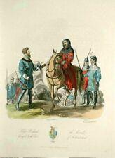ANCIET COSTUME OF GREAT BRITAIN; KING RICHARD 1812; Original  RARE hand color