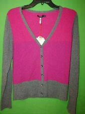 9946) NWT APT 9 medium pink gray 100% cashmere cardigan sweater fitted new M