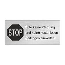 Edelstahl Briefkastenschild STOP KEINE WERBUNG ZEITUNGEN 80 x 35 mm (ZB7)