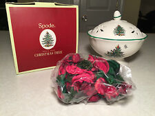New in Box SPODE CHRISTMAS TREE Porcelain Lidded HOLIDAY POTPOURRI DISPLAY BOWL