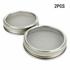 2 pack Stainless Strainer Sprouting lids for wide mouth mason / canning jars New
