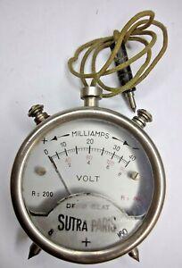 VINTAGE SUTRA PARIS VOLT ELECTRICAL GAUGE - Milliamps Steampunk Meter Electric