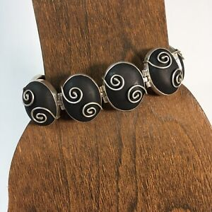 Sterling Silver & Black Resin Swirl Design Bracelet Toggle Closure
