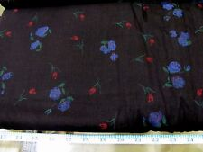 "BTY BLACK WITH VIOLET FLORAL ALL COTTON  VOILE  SEWING FABRIC 50"" WIDE 3.9 OZ"