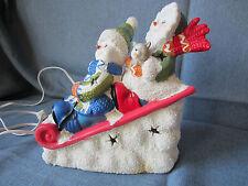 Christmas Winter Snowmen on sled night light International Bazaar Ceramic Sleigh