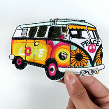 Retro 70s Love Peace Bus Hippie Boho Sew Iron on Patch Badge Embroidery Applique