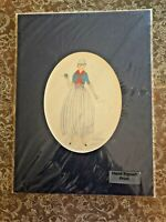 """Marylou Weiner - """"Feminine"""" Colored Pencil Print in Blue Oval , Hand Signed"""