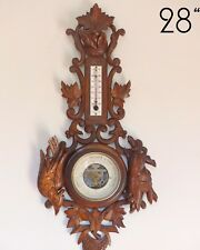 """Antique French Black Forest Carved 28"""" Barometer & Thermometer Hunting theme"""