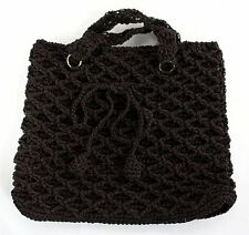 Vintage Brown Crocheted Handbag Shoulder Bag Purse made of Soft Plastic Threads!