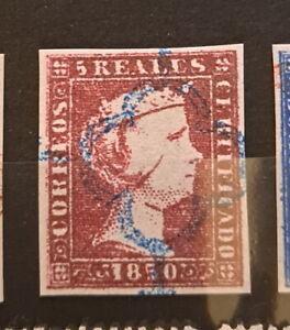 Edifil 3 usado araña azul 1850 ISABEL II 5 reales pieza de lujo España Spain