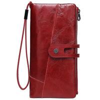 Women Genuine Leather Long Bifold Wallet Wristlet Card Holder Clutch Purse Retro
