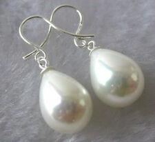 White South Sea Shell Pearl Drop Dangle Earrings AAA+