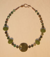 Beautiful Olive Green Jade, Quartz with Forest Green Crab Agate Necklace