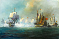 Stunning Oil painting seascape big sail boats on ocean - The Battle of Trafalgar