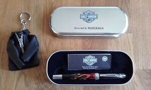 Waterman fountain pen Harley Davidson in tin case with leather keyring