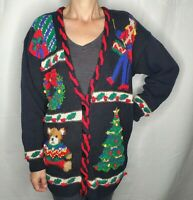 VTG Marisa Christina Christmas MEDIUM Cardigan Ugly Sweater Snowman Drummer Bear