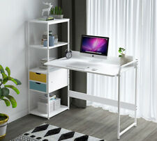 Computer Desk Pc Laptop Table Study Workstation Home Office W/Bookshelf White