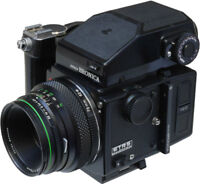 Bronica ETRS Medium Format Film Camera with 75 mm lens and grip