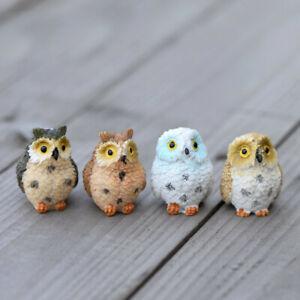 Miniatures Figurine Terrarium Decor 2 PCS Cute Owls Animal Resin Craft Bonsai