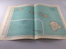 Vintage 1934 Rand McNally Map of Hawaii ~ Color ~ Ships FREE!