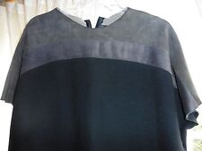 NWT Decottis, Italy, Black Wool Dress w/ Leather Neck & Shoulders 46/10, Beauty!