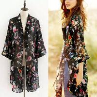 Damen  Blumen lose Schal Kimono Cardigan Boho Chiffon Tops Jacke Bluse Neu