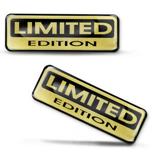 2 x 3D Limited Edition Gold Stickers Domed Decals Logo Car Moto Emblem Badge