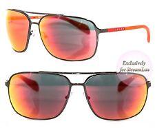 PRADA Sport Square Sunglasses SPS 54O 5AV-6Y1 Gunmetal Gray Red Orange Mirrored